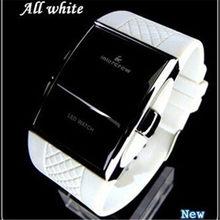 Sportowe zegarki cyfrowe 2021 nowe stylowe mężczyźni czarny Rentangle Dial LED zegar elektroniczny silikonowy Watchband Hot erkek kol saati
