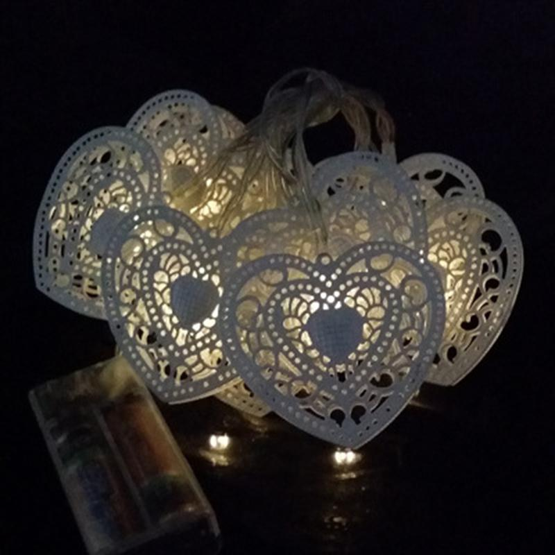1.5m Led String Lights Wooden Heart 10-LED Rope Lights for Wedding Engagement Party Decoration