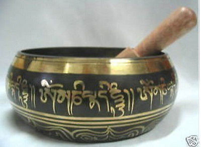 "5"" Tibetan Singing Beautiful Tibetan Buddhism Cuprum Mantra Singing Bowl Buddha of  bowls Antique Garden Decoration Silver Brass"