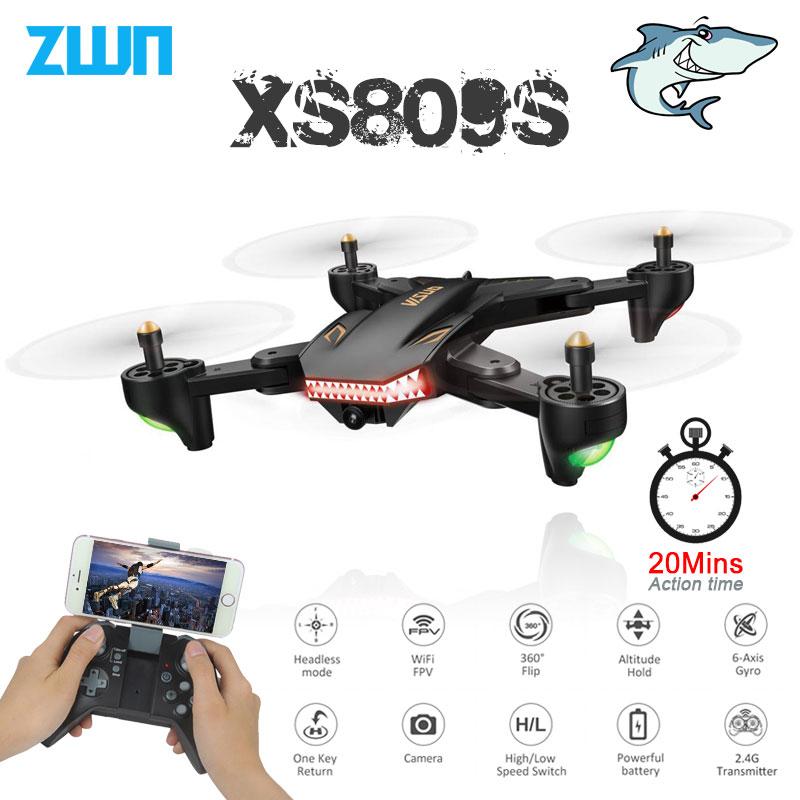 Drone de Selfie pliable VISUO XS809S XS809HW avec caméra grand Angle 0,3mp/2MP HD quadrirotor WiFi FPV hélicoptère RC Mini Dron