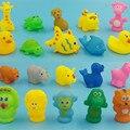 Novo Banho Do Bebê Brinquedos Animais Mistos Squeaky Natação Banho de Lavagem jogo Macio de Borracha Float Sqeeze Som Toy para o Bebê Educacional brinquedos