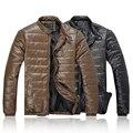 Горяч-продавая мужчин зимний верхней одежды стенд воротник хлопок кожаные куртки мужчины пуховики