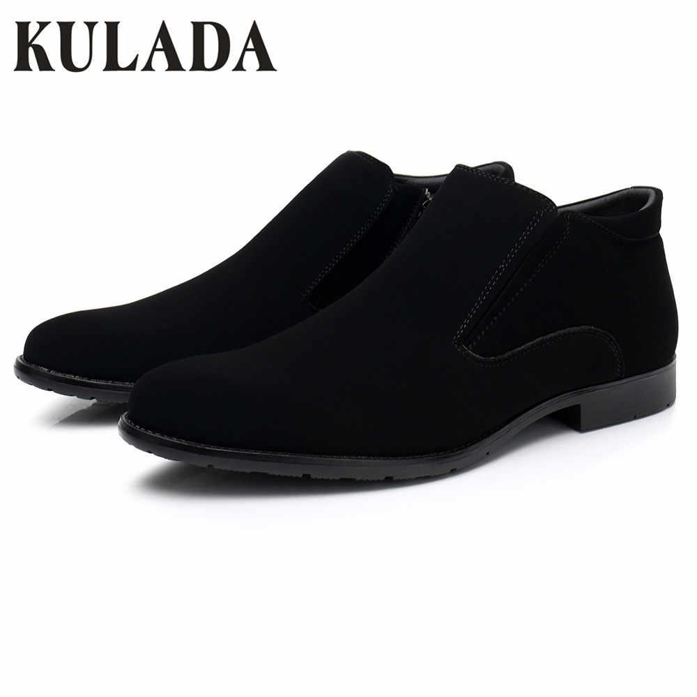 KULADA yeni erkek ayakkabısı ilkbahar ve sonbahar yarım çizmeler erkekler fermuar yan PU deri Oxford iş botları erkekler kısa peluş klasik botlar