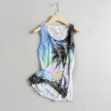 Summer Womens SEXY WHITE See Through Flower Print Lace Tank Tops Women Print Lace Vests Sleeveless