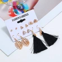 L&H 6Pairs/Set Boho Fashion Earrings Set Black Tassel For Women Exquisite Leaves Earings Simple Geometric Stud