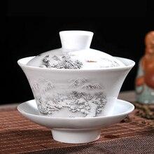 Китайский чайный сервиз Gaiwan голубой и белый фарфор Чайный набор кунг-фу Супница керамическая чашка для чая здоровье чайная чашка и блюдце мастер чашки