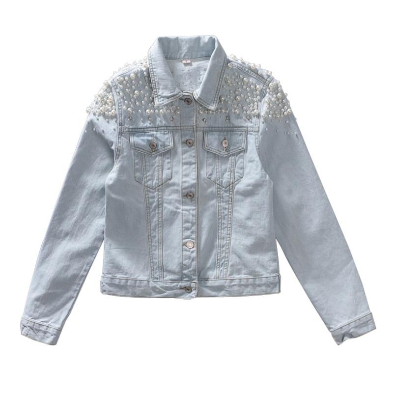 Mode Denim veste 2018 nouveau printemps femmes de luxe perles simple boutonnage jeans décontractés manteau Outwear Chaqueta Mujer