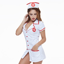 Sex Cosplay Nurse Costumes Women Sexy Lingerie For Role-playing Games Erotic Deep V Dress Nurse Uniform Babydoll Sexy Underwear