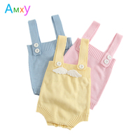 2017 Autumn Newborn Baby Rompers Toddler Infant Clothing Angel Wings Girls Knitted Jumpsuit Overalls Kids Boy