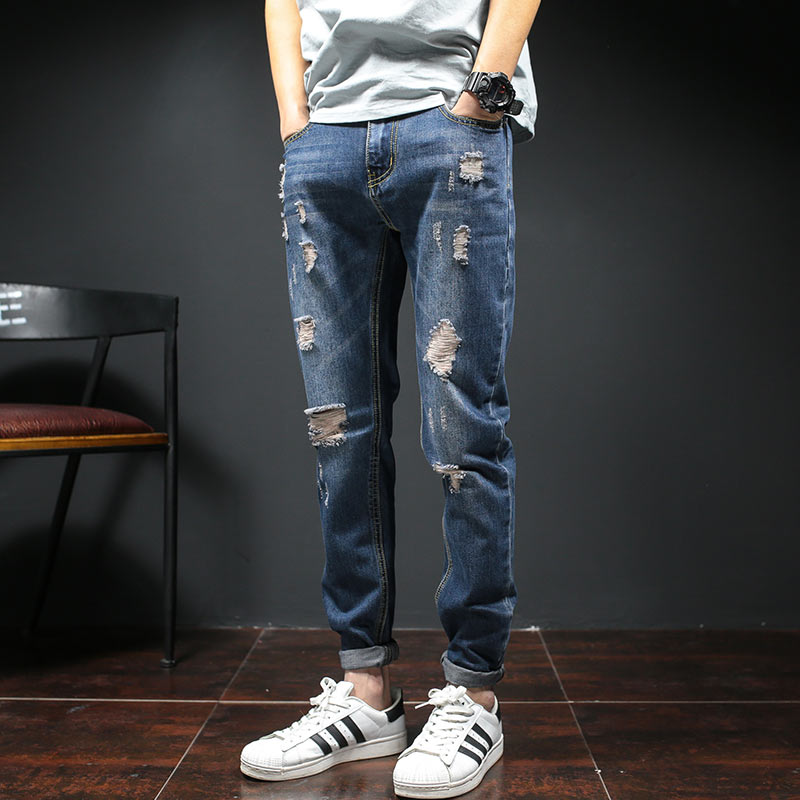 Fashion 2017 Spring Men Ripped Jeans Slim Fit Ankle Length Summer Hole Skinny Jeans Men Denim Pants Casual Men's Trousers Blue