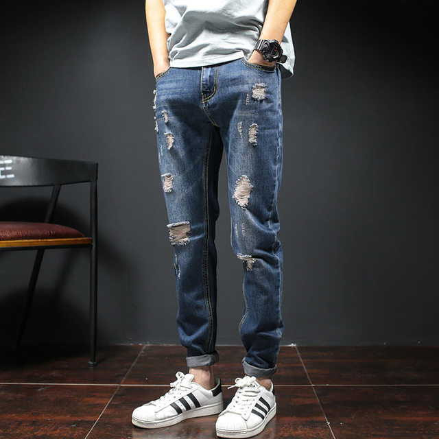 Fashion 2017 Spring Men Ripped Jeans Slim Fit Ankle Length ...