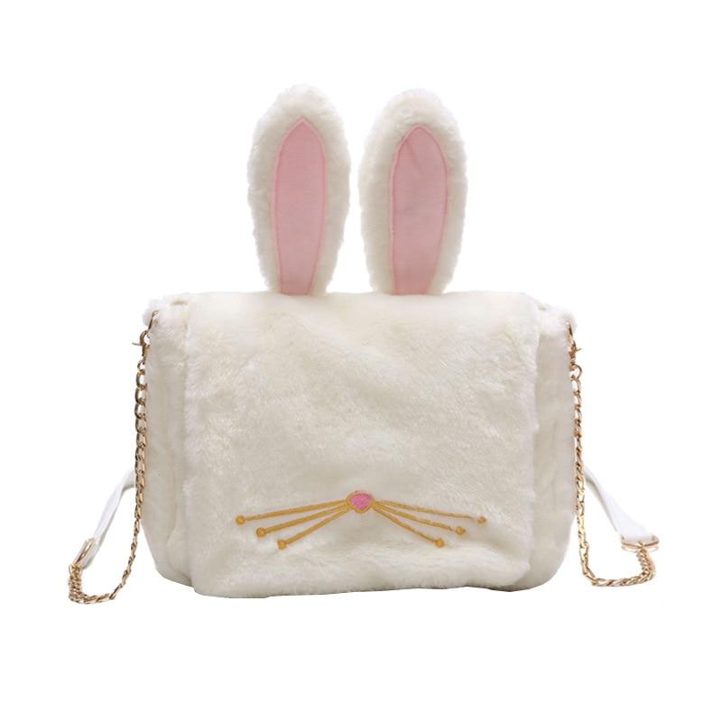 CUTE Rabbit Plush handbag cartoon small chain shoulder bag girls adorable ears kawayi pink white luna