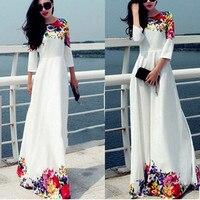 Liva Dziewczyna Jesień Zima Maxi Dress Floral Kobiety Tunika Casual Długi strona Sukienka Runway Dress Hippie Boho Chic Odzież Big Size S80