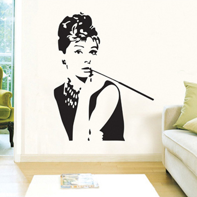 Adesivi Murali Audrey Hepburn.Nero Di Audrey Hepburn Ritratto Di Bellezza Adesivi Murali Delle