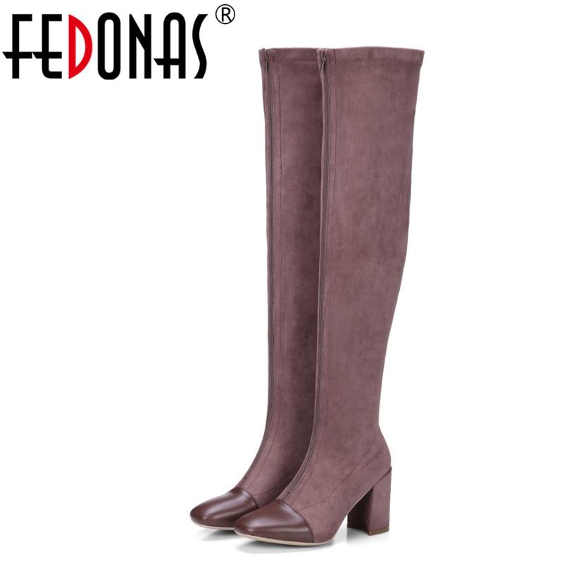 FEDONAS Brand Women Over The Knee High Boots Sexy High Heels Autumn Winter High Knight Boots Ladies Zipper Dancing Shoes Woman цены онлайн