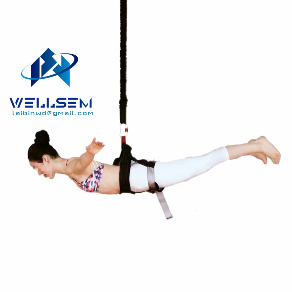 Wellsem New Arrival Bungee Dance Workout Fitness Aerial Anti-gravity Yoga Resistance Band Home Gym Equipment fitness padded gravity boots safety locking mechanism ankle hooks abdominal workout training hang up ab gym equipment