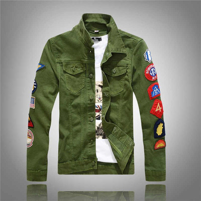 Moda Streetwear Punk Style kurtka męska biały zielony kolor łatki łączone Hip Hop kurtka dżinsowa mężczyźni kurtki-pilotki płaszcz Homme
