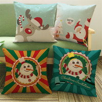 Happy Christmas Hot Present New Year Kids Gifts Pillow Case Cushion Cover Sofa Seat Car Office