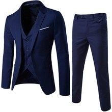 Модный мужской костюм, приталенный пиджак из 3 предметов, деловой Свадебный Мужской пиджак, жилет со штанами размера плюс, костюм