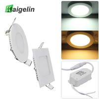 2 Pieces Lot Kaigelin 3W LED Panel Ceiling Light Square Round Type Surface Mounted LED Lights