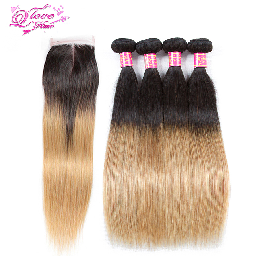 Queen Love Hair Malaysia hair 4 bundle With Closure part 1b / 27 Color Closure straight Human Hair Extension