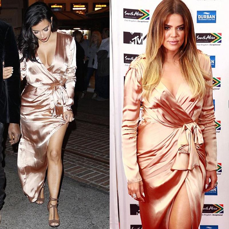Kim Kardashian Satin Dress
