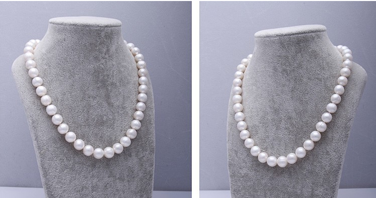 Wedding Top Natural Freshwater pearl 11mm White pearl Necklace highlight Handmade Choker women Jewelry