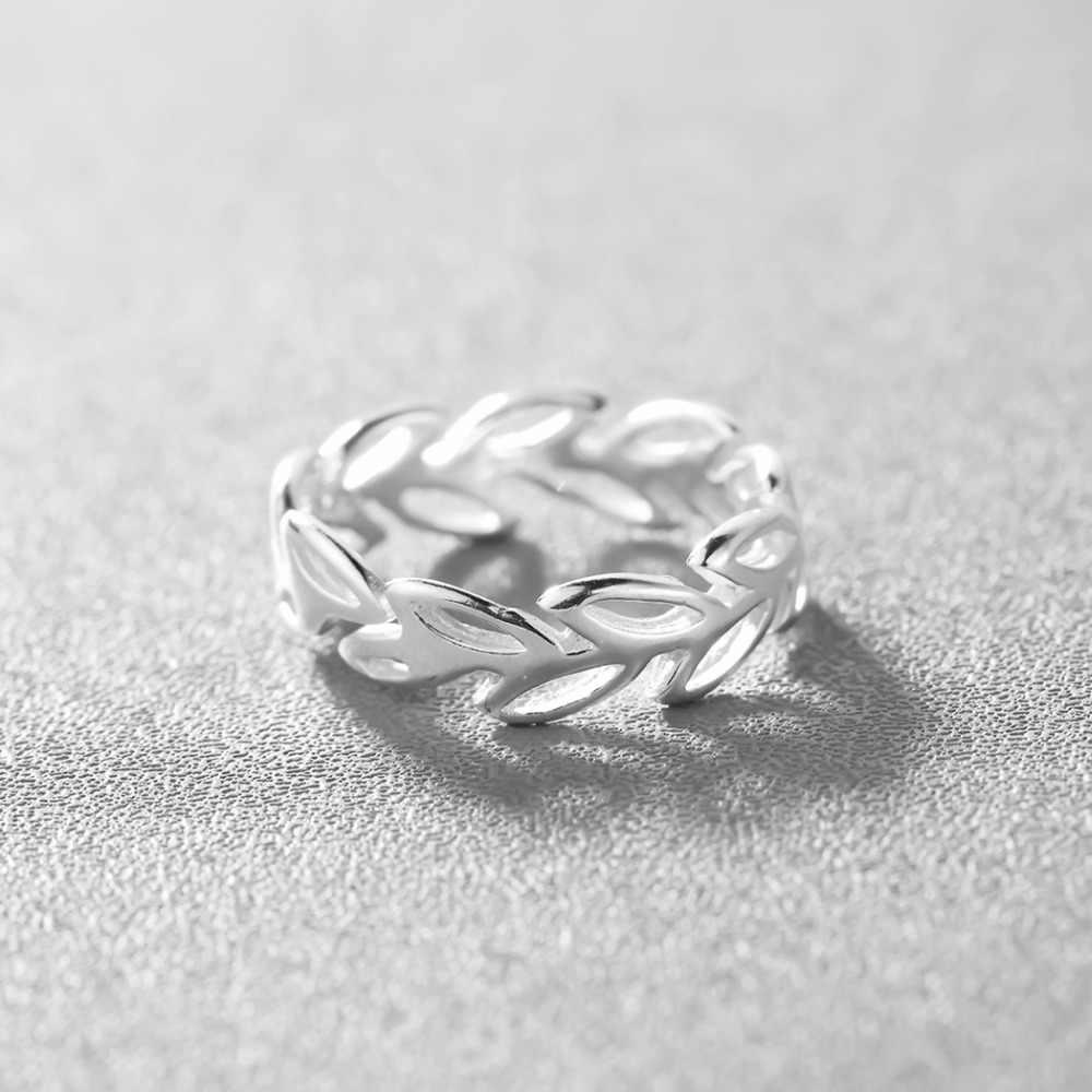 Elagant Simples Rodada Deixa Anéis de Prata Simples Anel de Dedo Dedo do pé de Casamento Jóias Para Mulheres Meninas Presente de Aniversário Da Mãe
