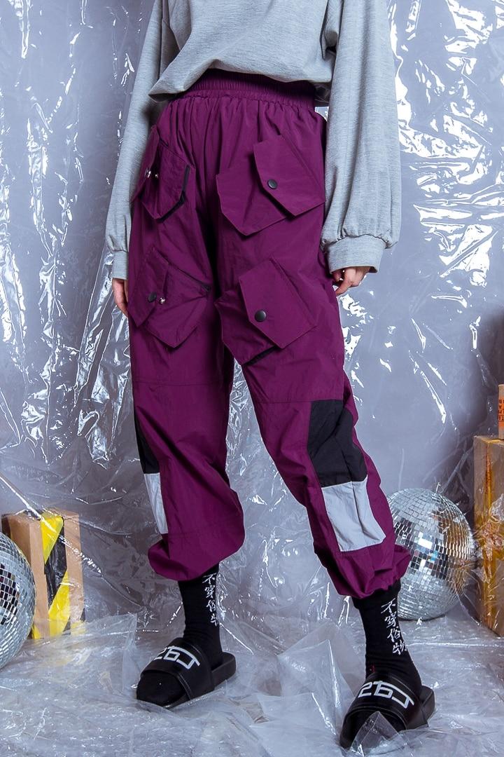 Marée gris Femmes Serré Vent Pantalon Marque Hommes Taille Et Bleu Outils Bf Épissage Multi Lâche Pantalon Poches 5AqqXTxw