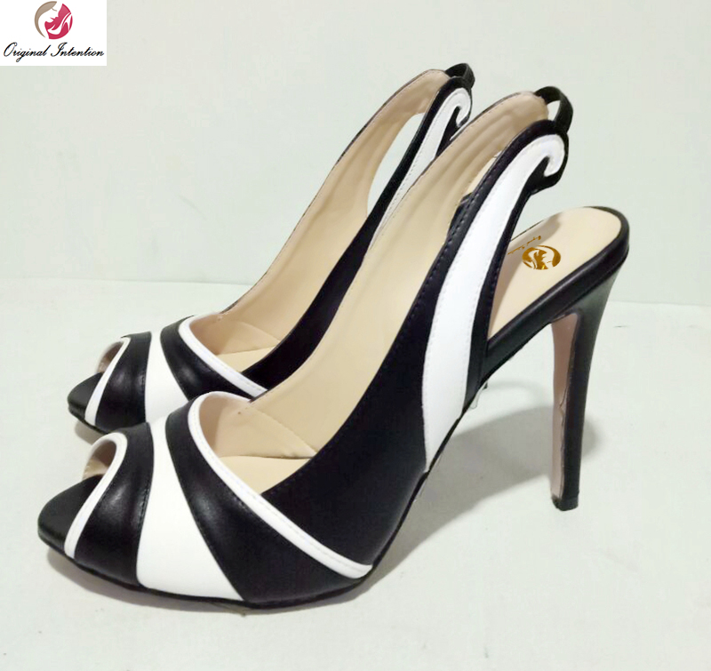 Original Intention New Popular Women Pumps Elegant Peep Toe Thin Heels Pumps Black and White Shoes Woman Plus US Size 4-15 hot selling sexy sloid thin heels sandals woman new desig lace red white black sandals peep toe elegant for women free sipping