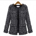 2016 Fashion Trends Womens Spring Tweed Jacket Women Ladies Short Coats Black Fancy Cardigans Plus Size S-XXXL
