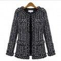 2016 Tendencias De Moda Para Mujer Chaqueta de Tweed de Primavera Señoras de Las Mujeres Corto Abrigos de Lujo Negro Cardigans Más El Tamaño S-XXXL