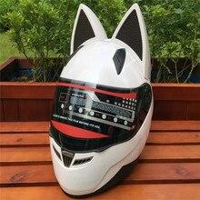 Мотоцикл в летние сезоны мужчины и женщины противотуманные шлем беговых автомобиль рога моды кошка уши шлем