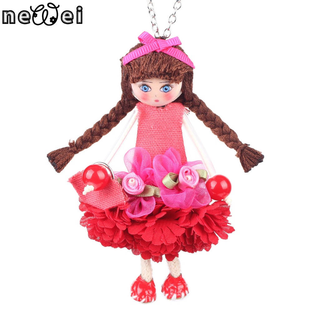 Bonsny Handmade Doll Necklace French Statement Cloth Long Pendant New Spring Style Jewelry for Women Accessories