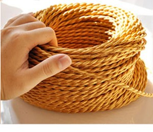 Image 3 - 5m/lot 2*0.75 Copper Cloth Covered Wire Vintage Style Edison Light Lamp Cord Grip Twisted Fabric Lighting Flex Electric Cable