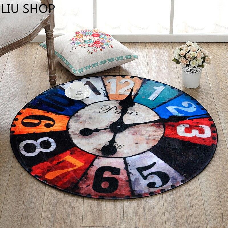 European And American Creative Retro Clock Round Carpet Room Bedroom Living  Room Boy Room Rug Desk