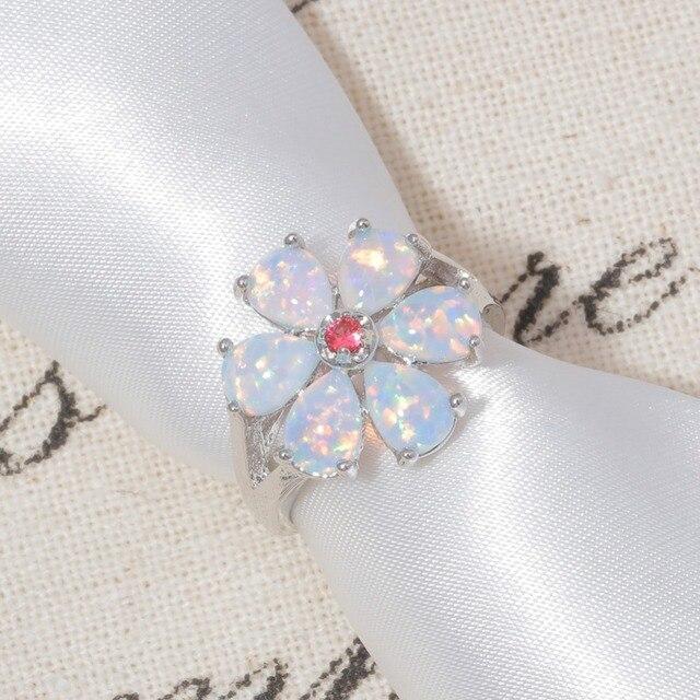 Kunzite CiNily Creato Bianco Opale di Fuoco Argento Placcato Fiore All'ingrosso per i Monili Delle Donne di Modo Regalo Ring Size 6-12 OJ6194