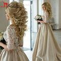 Gorgeous Lace Appliques Ball Gown Puffy Pearls Evening Dresses 2016 Sexy See through Floor Length Robe De Mariee Prom Gowns