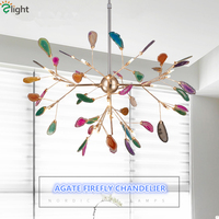 Creative Colorful Agate Firefly Chandelier G4 Luminaria Led Chandelier Lustre Chandelier Lighting Lamparas For Dining Room