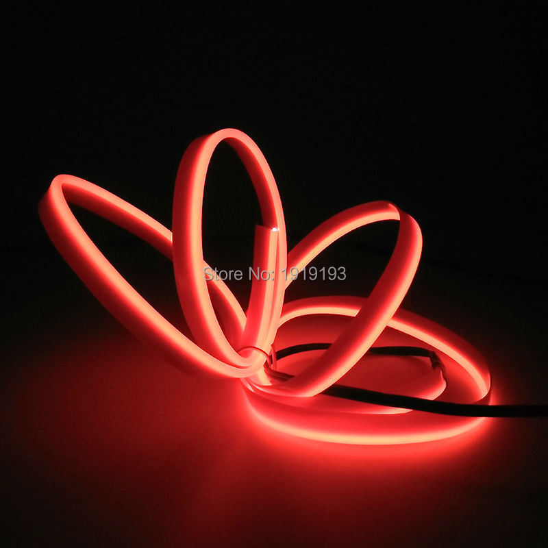 NEW Arrive 2.3mm-Skirt Sound Active EL Wire LED Strip Flexible Neon Light 10 Color Choice For Car Internal Party Decoration