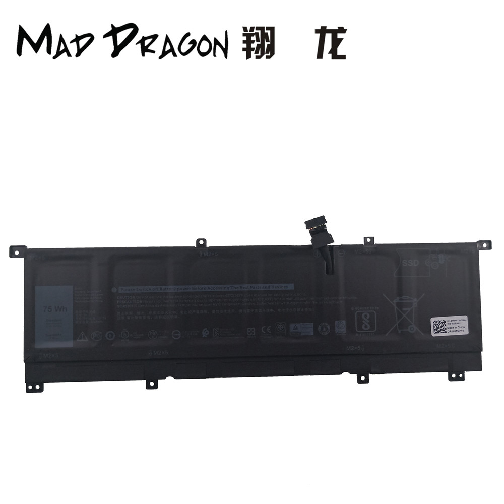 MAD DRAGON Brand Laptop NEW Lithium Battery for Dell XPS15 9575 XPS 15 9575 13.2V 75Wh 6254mAh 6 Cell Li-Ion 0TMFYT TMFYT 8N0T7 iridium 9575