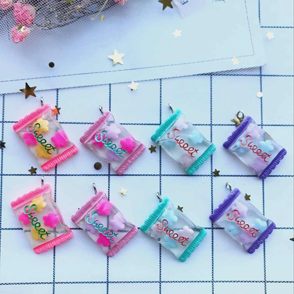 10pcs Kawaii resin Fashion flowers candy Charms  for DIY decoration neckalce earring key chain Jewelry Making
