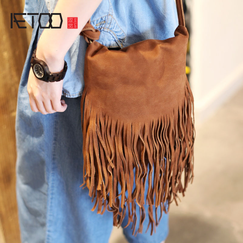 AETOO Brown turn fur oblique cross package 2017 new handmade leather national foliage virgin bag retro leather shoulder bag aetoo new first layer of leather men s shoulder bag leather male package cross section oblique cross bag japanese and korean ver