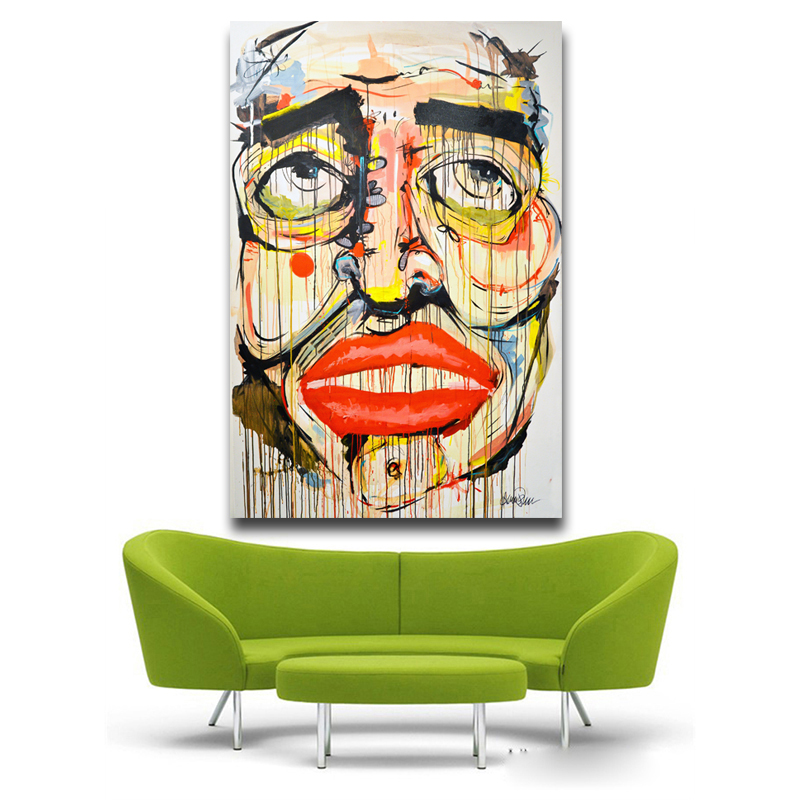 Pop Kunstdrucke Leinwandmalerei Abstrakte Wohnzimmer Dekoration Kunstwerk Gesicht Hochformat Anzeige Lippen Bunte Emotionen Malerei