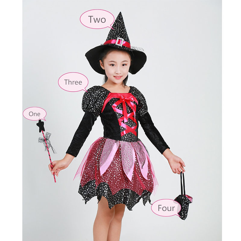 Halloween Girl Witch Dress With Hat Magic wand Bag 4pcs Cosplay Suits Performance Costume Knee-Length Girl Dresses Kids Clothes girls dresses trolls poppy cosplay costume dress for girl poppy dress streetwear halloween clothes kids fancy dresses trolls wig