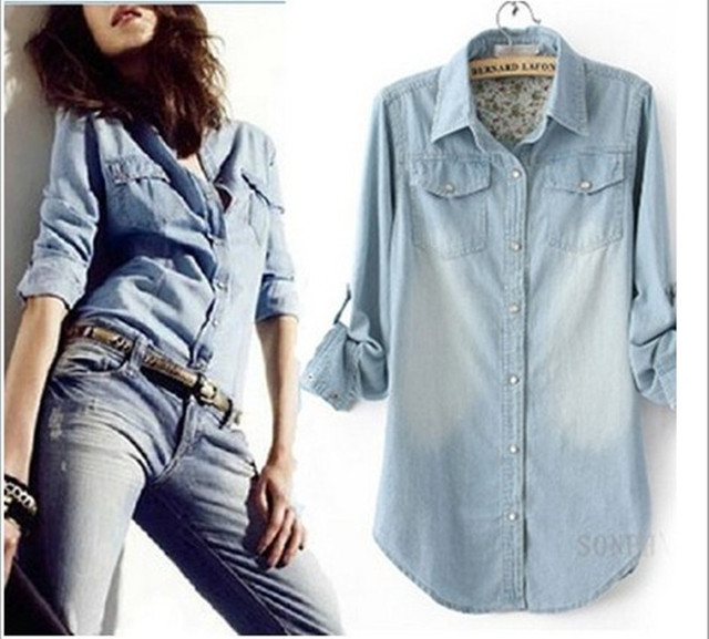 2017 cotton water washed denim shirt female long-sleeve all-match denim outerwear medium-long plus size denim shirt
