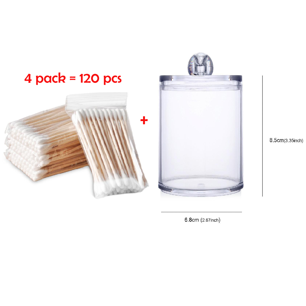 120pcs Cosmetic Cotton Swab Double Head Ended Clean Cotton Buds Ear Clean Tools With Cylinder Acrylic Cotton Swab Case
