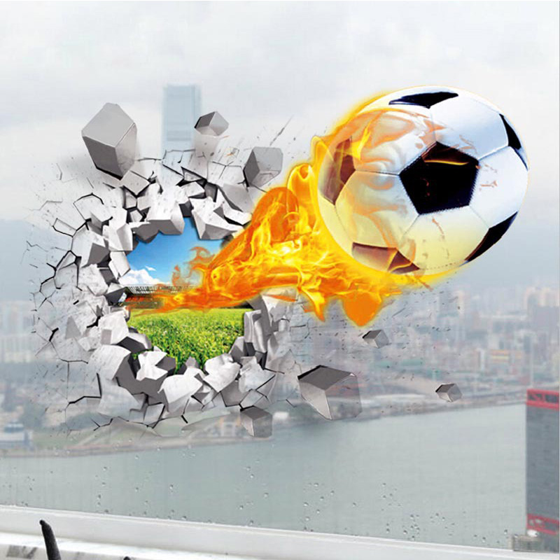 1pc Car Broken Wall Mural 3D Basketball Wall Stickers Vinyl Soccer Poster Boys Room Orna ...