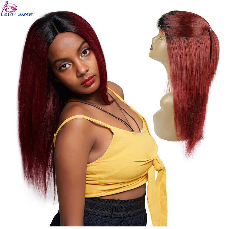 KISSMEE 1B 99J Ombre Lace Front Wig Brazilian Straight Human Hair Wig With Baby Hair Remy Hair Bob Lace Wigs For Black Women