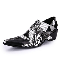 New Fashion 2017 Printed High Heels Shoes for Men Genuine Leather Buckle Casual Christmas Party Shoes Plus Size 38-46